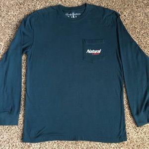 Natural Light Beer Long Sleeve Pocket T-Shirt